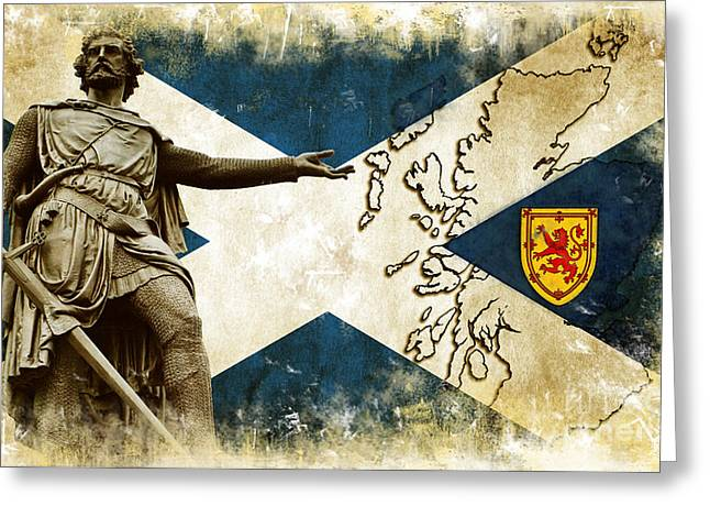 Flag Pyrography Greeting Cards - William Wallace Guardian of Scotland II Greeting Card by Miryam  UrZa