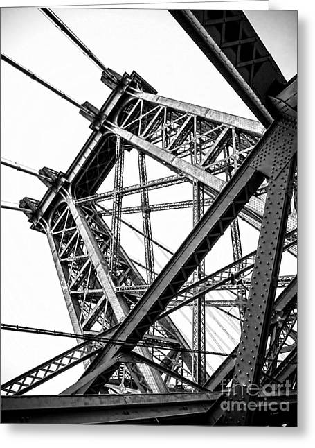 Rectangles Greeting Cards - Williamsburg Bridge Pier Greeting Card by James Aiken