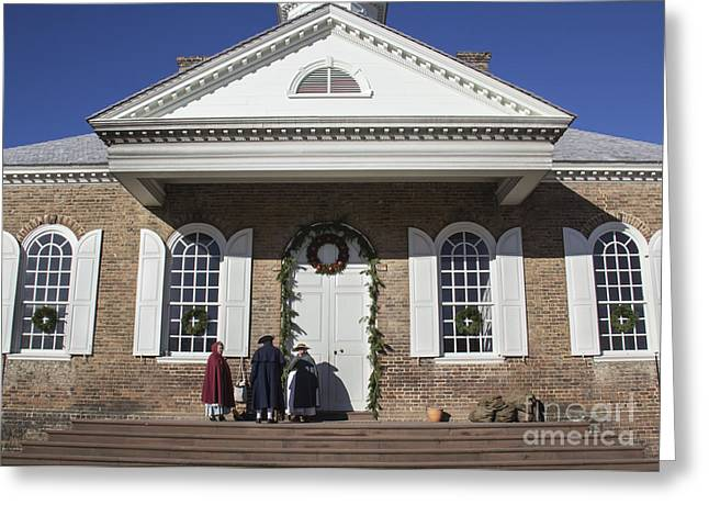 Colonial Actors Greeting Cards - Williamsburg Courthouse at Christmas Greeting Card by Teresa Mucha