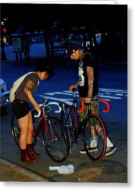 Bicycle Kick Greeting Cards - Williamsburg Greeting Card by Heart On Sleeve ART
