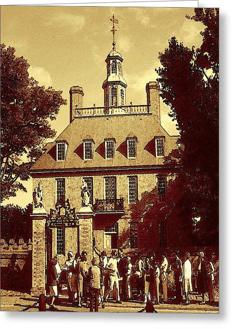 Historical Images Drawings Greeting Cards - Williamsburg Virginia - Historical Greeting Card by Peter Fine Art Gallery  - Paintings Photos Digital Art