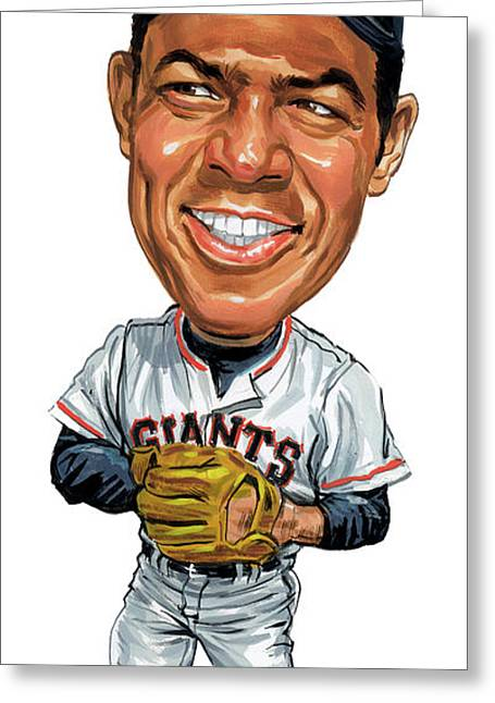 Baseball Paintings Greeting Cards - Willie Mays Greeting Card by Art