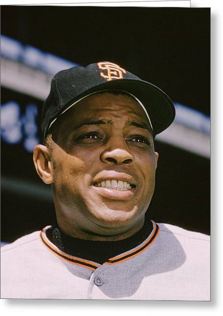 Mvp Photographs Greeting Cards - Willie Mays Close-up Greeting Card by Retro Images Archive