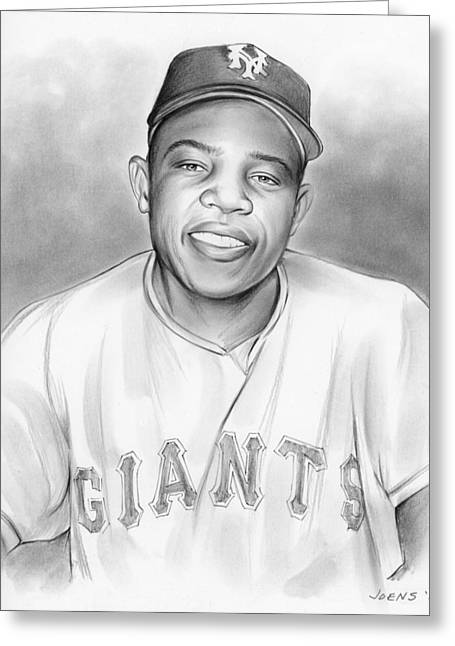 Willie Mays Greeting Card by Greg Joens