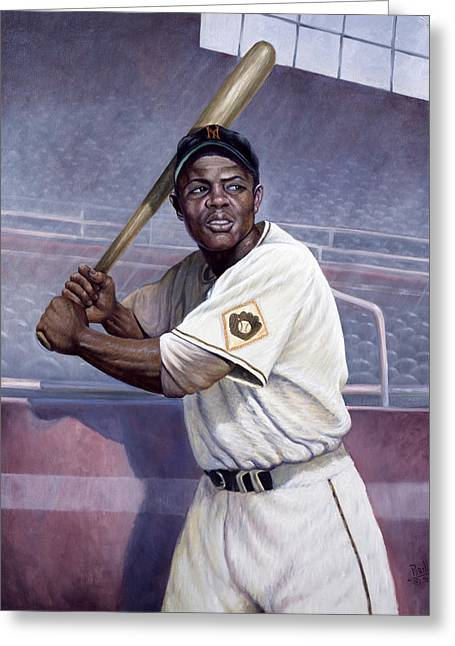 Willie Mays Greeting Card by Gregory Perillo