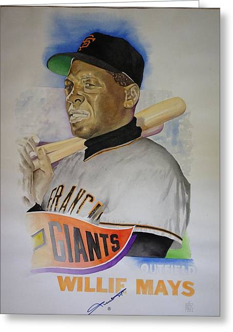 Hitter Paintings Greeting Cards - Willie Mays Greeting Card by Robert  Myers