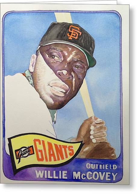 Hitter Paintings Greeting Cards - Willie McCovey Greeting Card by Robert  Myers