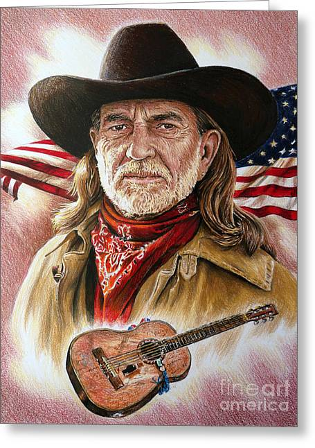 Leather Drawings Greeting Cards - Willie Nelson American Legend Greeting Card by Andrew Read