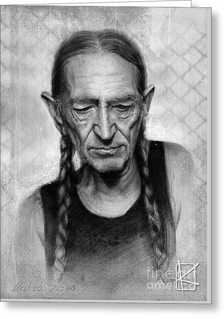 Willie Greeting Cards - Willie Nelson Greeting Card by Andre Koekemoer