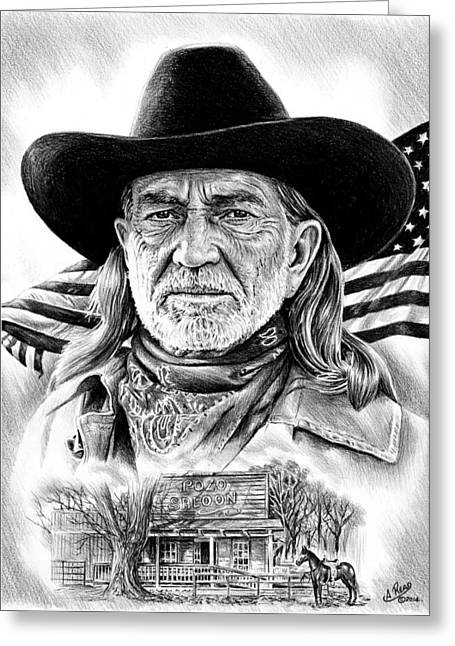 Cowboy Sketches Greeting Cards - Willie Nelson Greeting Card by Andrew Read