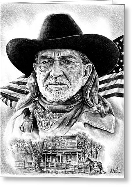 Willie Nelson Greeting Card by Andrew Read