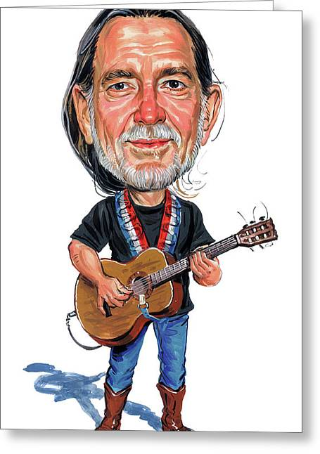 Willie Greeting Cards - Willie Nelson Greeting Card by Art