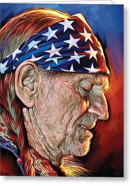 Willie Greeting Cards - Willie Nelson Artwork Greeting Card by Sheraz A