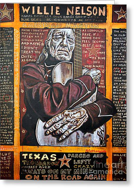 Willie Nelson Greeting Card by Bob Hislop