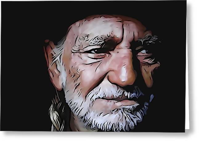 Fame Mixed Media Greeting Cards - Willie Nelson Greeting Card by Dan Sproul
