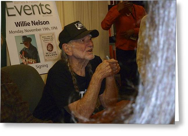 Autographed Guitars Greeting Cards - Willie Nelson Greeting Card by Kenneth Summers