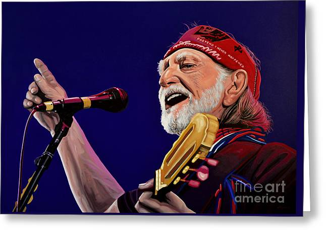 Willie Greeting Cards - Willie Nelson Greeting Card by Paul Meijering