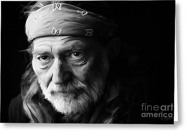 Willie Greeting Cards - Willie Nelson Greeting Card by Paul Tagliamonte