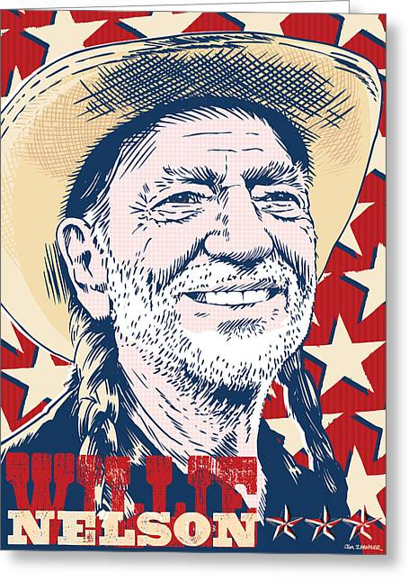 Willie Greeting Cards - Willie Nelson Pop Art Greeting Card by Jim Zahniser