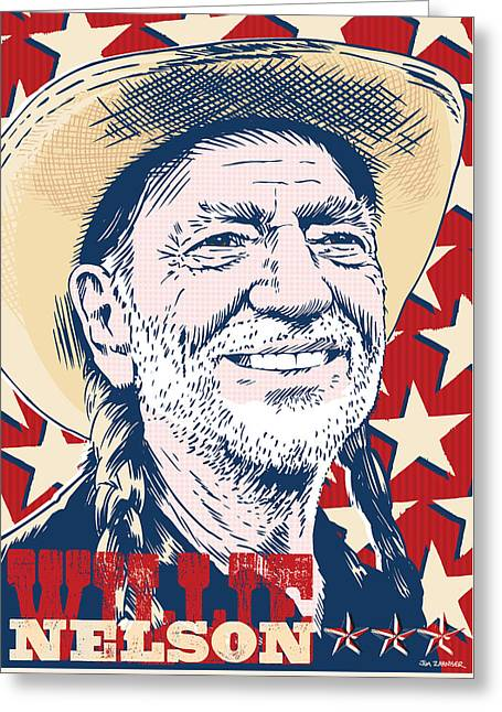 Willie Nelson Pop Art Greeting Card by Jim Zahniser