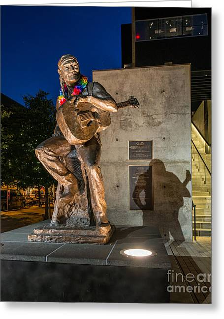 Austin At Night Greeting Cards - Willie Nelson statue Greeting Card by Tod and Cynthia Grubbs