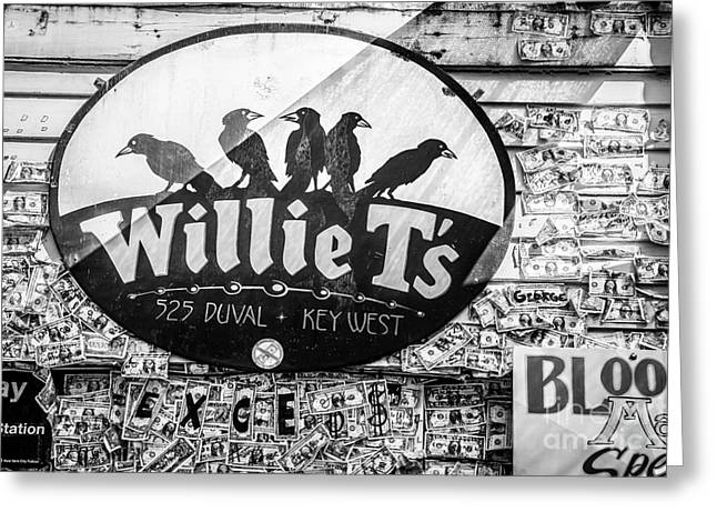 Liberal Greeting Cards - Willie Ts Bar and Dollar Bills Key West - Black and White Greeting Card by Ian Monk