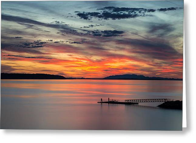 Canon Eos 6d Greeting Cards - Willingdon Beach sunset in Powell River BC Greeting Card by Pierre Leclerc Photography