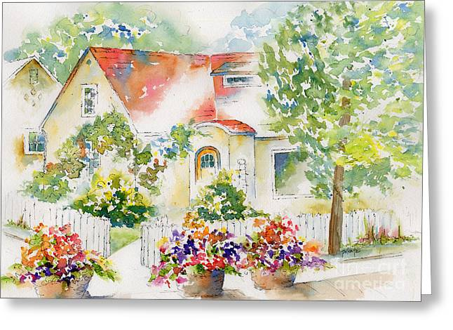 Stone Planter Greeting Cards - Willingdon Place Greeting Card by Pat Katz