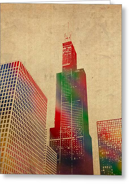 Chicago Mixed Media Greeting Cards - Willis Sears Tower Chicago Illinois Watercolor on Worn Canvas Series Greeting Card by Design Turnpike