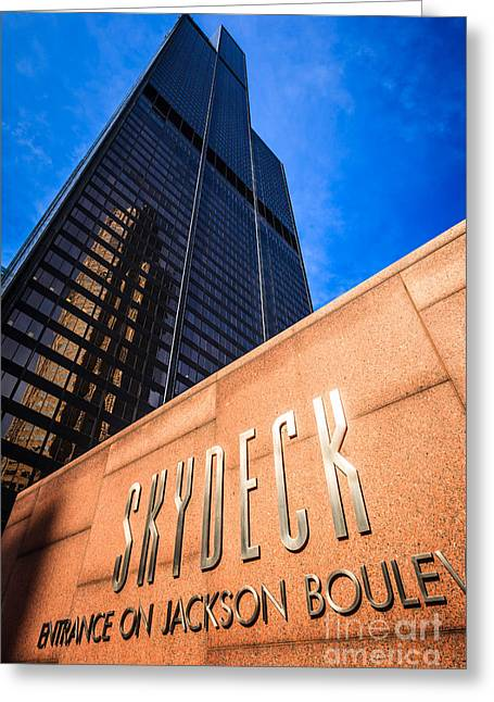 Editorial Photographs Greeting Cards - Willis-Sears Tower Skydeck Sign Greeting Card by Paul Velgos