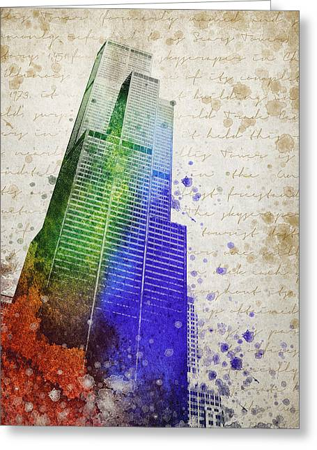 Chicago Building Greeting Cards - Willis Tower Greeting Card by Aged Pixel