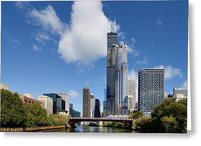 White River Scene Greeting Cards - Willis Tower and 311 South Wacker Drive Chicago Greeting Card by Christine Till