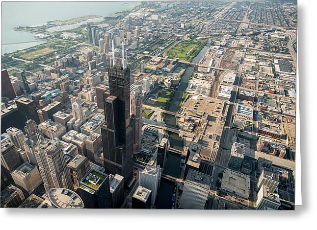 Michigan City Greeting Cards - Willis Tower Southwest Chicago Aloft Greeting Card by Steve Gadomski