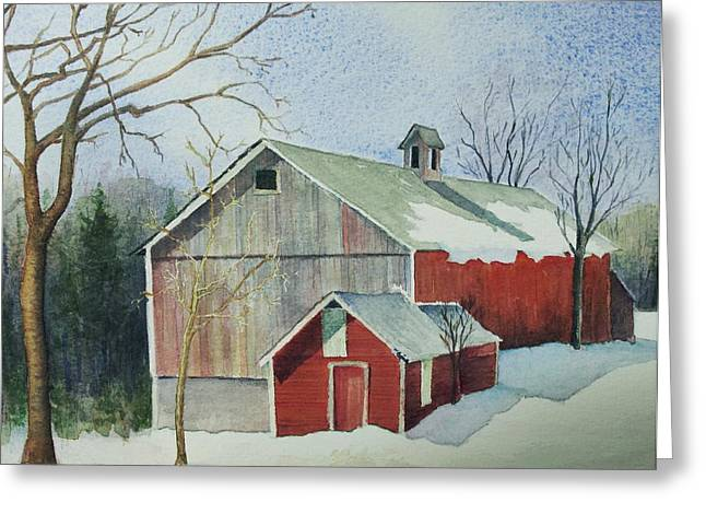 New England Snow Scene Greeting Cards - Williston Barn Greeting Card by Mary Ellen  Mueller Legault