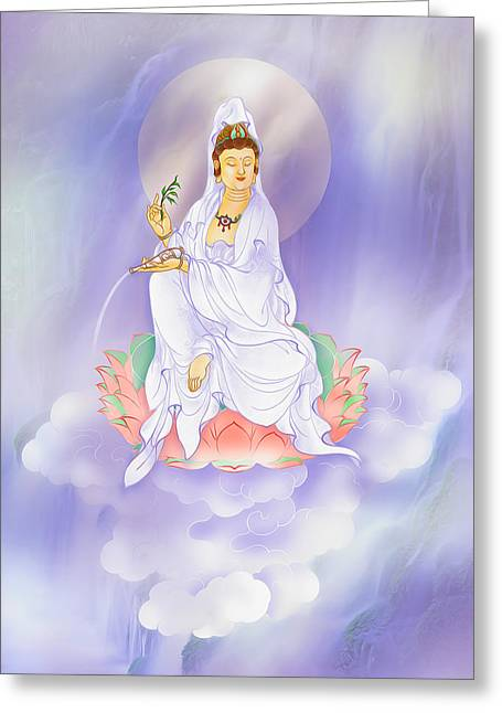 Siddharta Greeting Cards - Willow Kuan Yin Greeting Card by Lanjee Chee