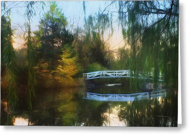 Weeping Greeting Cards - Willow Bridge Greeting Card by Lori Deiter