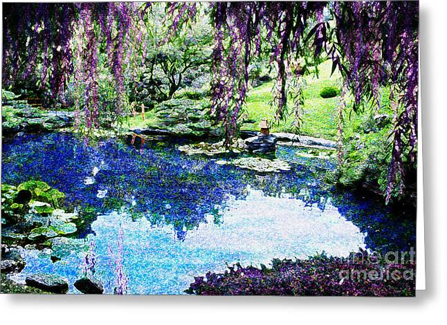 Overhang Digital Art Greeting Cards - Willow Pond Greeting Card by Jeanette Brown
