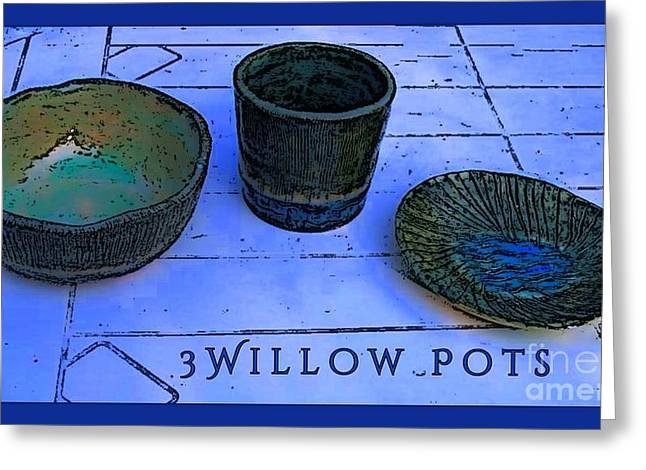 Posters Ceramics Greeting Cards - Willow Pots Greeting Card by Joan-Violet Stretch