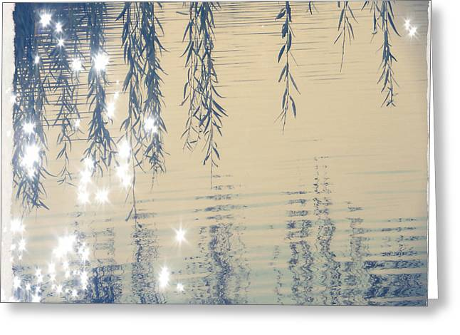 Willow Lake Greeting Cards - Willow reflection III Greeting Card by Sara Joy
