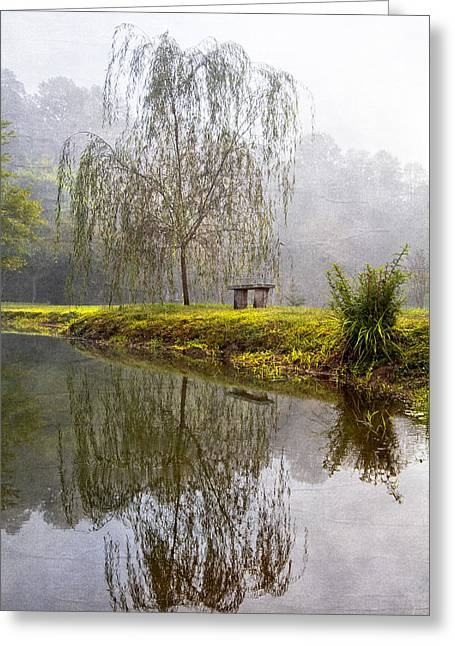 Willow Lake Greeting Cards - Willow Tree at the Pond Greeting Card by Debra and Dave Vanderlaan