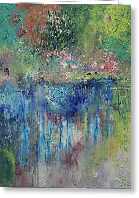Impressionist Creek Oil Paintings Greeting Cards - Willows Greeting Card by Michael Creese