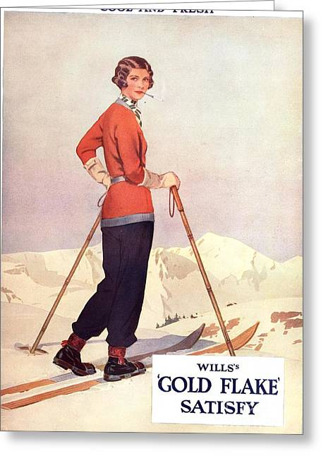 Twentieth Century Greeting Cards - WillÕs 1930s Usa Gold Flake Skiing Greeting Card by The Advertising Archives