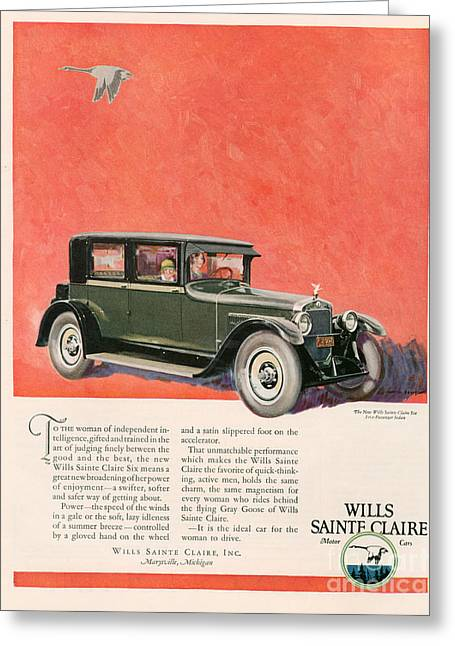 American Automobiles Greeting Cards - Wills Sainte Claire 1925 1920s Usa Cc Greeting Card by The Advertising Archives