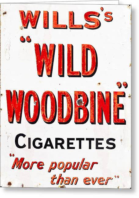 Grungy Drawings Greeting Cards - Willss Wild Woodbine Cigarettes Greeting Card by Shawn Hempel