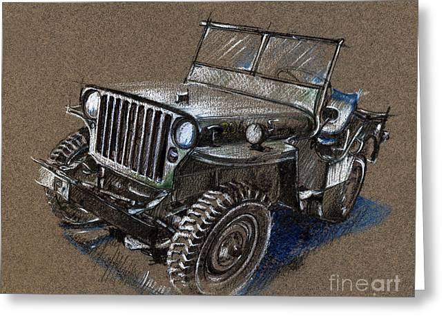 Willys Car Drawing Greeting Card by Daliana Pacuraru