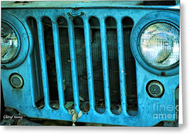 Old Relics Greeting Cards - Willys Eyes Greeting Card by Cheryl Young