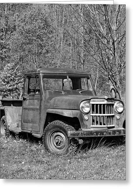Four-wheel Greeting Cards - Willys Jeep Pickup Truck monochrome Greeting Card by Steve Harrington
