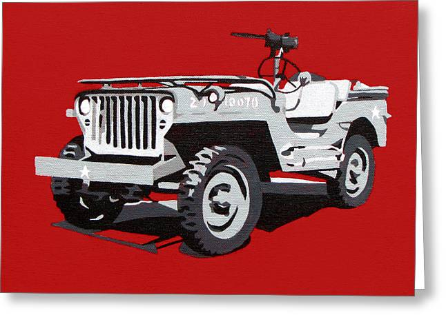Iraq Paintings Greeting Cards - Willys Jeep Greeting Card by Slade Roberts