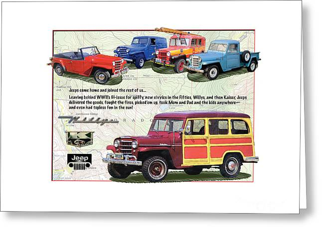 Flat Four Greeting Cards - Willys Jeep Utilities and SUVs Greeting Card by Dan Knowler