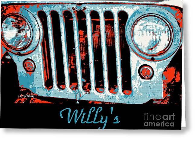 Four-wheel Greeting Cards - Willys Pop Art Greeting Card by Cheryl Young